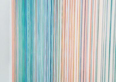 """Réflextion, 2017, bois, fil Isacord, peinture acrylique, 35""""x35""""x2"""""""