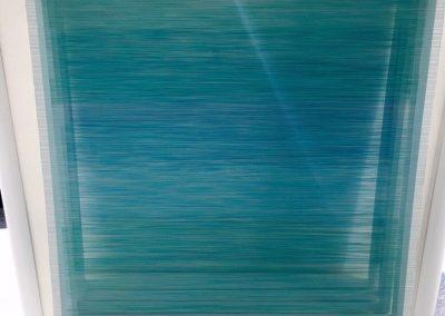 """Soulfie, 2017, bois, fil Isacord, peinture acrylique, 37""""x37""""x15"""""""