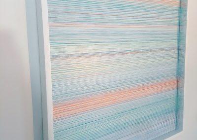 """Réflextion, 2017, bois, fil, peinture acrylique, 35""""x35""""x2"""""""