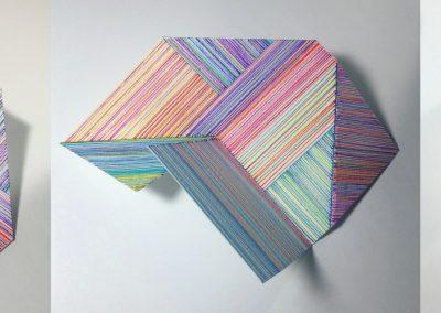 Dessin permutable modulable, 2018, crayon, papier gravure, 6″x6″