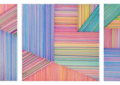 Dessin permutable 1, 2018, crayon, papier gravure, 28″x10″