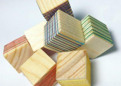 "Modular model, 2018, wood, thread, 4""x4""x2"""