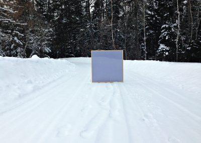 "Cube, 2017, wood, fabric, 35""x35""x5"""
