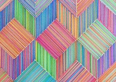 Dessin permutable 2, 2018, crayon, papier gravure, détail
