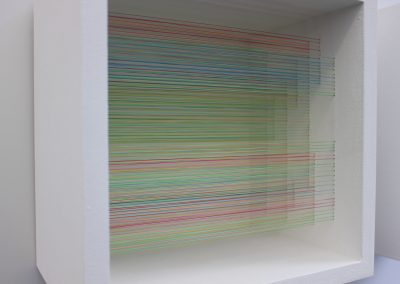 """Brumes, 2019, fil, bois, peinture acrylique, 10"""" x 10"""" x 7"""""""
