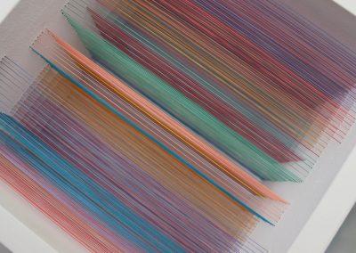 """Labyrinthe 1, 2019, fil, bois, peinture acrylique, 10"""" x 10"""" x 7"""""""
