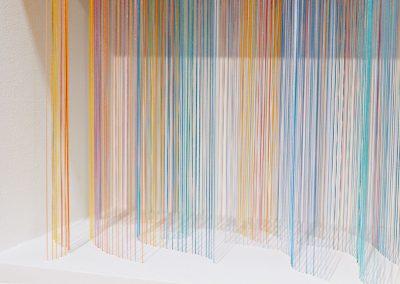 """Vague 2, 2019, fil, bois, peinture acrylique, 10"""" x 10"""" x 7"""""""