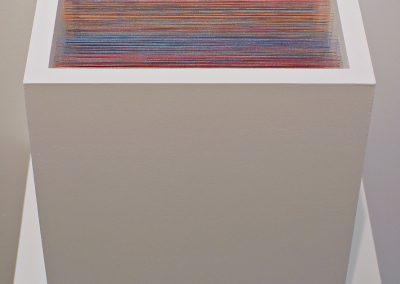 """Labyrinthe 3, 2019, fil, bois, peinture acrylique, 10"""" x 10"""" x 14"""""""