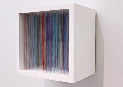"""Labyrinthe 2, 2019, fil, bois, peinture acrylique, 10"""" x 10"""" x 7"""""""