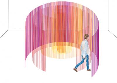 Maquette, Labyrinthe circulaire (périmètre optique), 2019, montage graphique