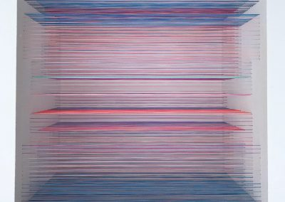The Maze 5, 2020, wood, thread, acrylic paint, 10″ x 10″ x 7″