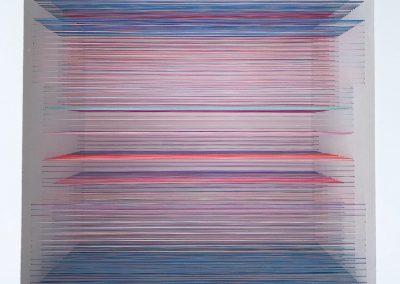 """Labyrinthe 5, 2020, fil, bois, peinture acrylique, 10"""" x 10"""" x 7"""""""