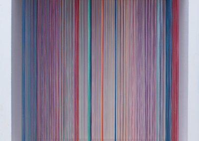 The Maze 4, 2019, wood, thread, acrylic paint, 10″ x 10″ x 7″