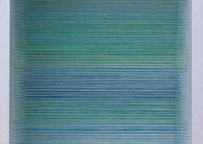 The Horizon 1, 2019, wood, thread, acrylic paint, 10″ x 10″ x 7″