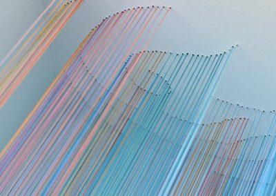 The Wave 2, 2019, wood, thread, acrylic paint, 10″ x 10″ x 7″
