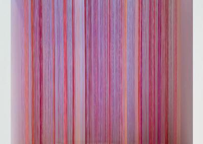 The Wave 4, 2019, wood, thread, acrylic paint, 18″ x 18″ x 7″